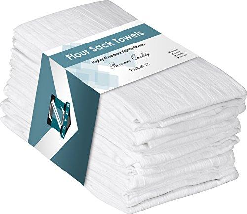 """ZOYER Flour Sack Towels (12 Pack, 28"""" x 28"""") - 100% Cotton Dish Towels - Kitchen Towels Multi Purpose Tea Towels - Absorbent Bar Towels Kitchen Linen Set."""