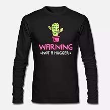 Warning Not A Hugger Prickly Cac, Long-Sleeve Shirts, Halloween Long-Sleeve T Shirts, Halloween Long Sleeve T Shirts For Men
