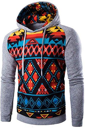 jeansian Uomo Moda Ethnic Stile con Cappuccio Pullover Casuale Felpe Maglione Sport Tops 88F5