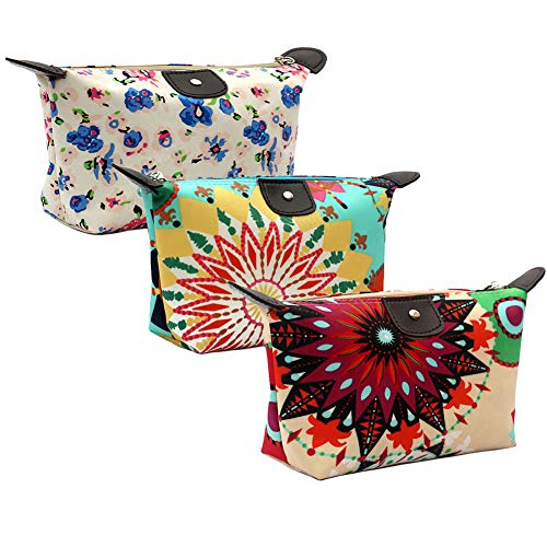 HOYOFO Women's Cosmetic Bags Travel Small Makeup Storage Pouch Cosmetic and Toiletries Organizer Bag Pack of 3, T set