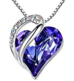 Leafael Infinity Love Heart Pendant Necklace with Tanzanite Purple Birthstone Crystal for February, Jewelry Gifts for Women, Silver-tone, 18'+2'