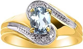 Diamond & Aquamarine Ring Set in 14K Yellow Gold