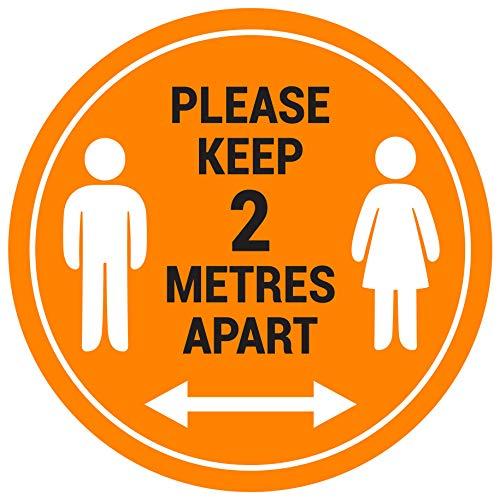 """Bodenschilder mit englischer Aufschrift """"Please Keep 2 Meter"""", 5 Stück"""