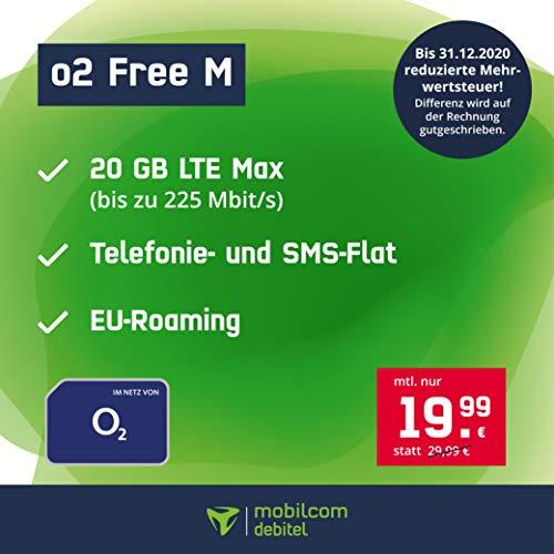 Handyvertrag o2 Free M - 20 GB Internet Flat, Allnet Flat Telefonie & SMS in alle Deutschen Netze, EU-Roaming, 24 Monate Laufzeit