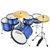 Eastar 16 inch Junior Drum Set Kids Drum Set 5-Piece with Adjustable Throne and Cymbal, Pedal & Drumsticks, Metallic Blue (EDS-350Bu)