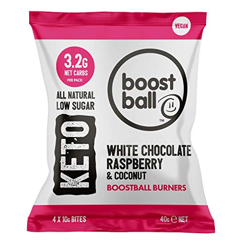 Boostballs Burners Keto Snacks, Low Carb, Vegan, Low Sugar, Gluten Free, Source of Fibre, 100% Natural, White Chocolate Raspberry Coconut Flavour, Pack of 12, 40 g