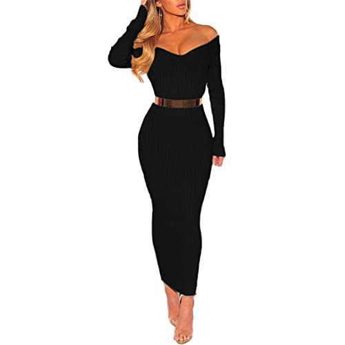 e5583a96 Boutiquefeel Womens Off Shoulder Ribbed Long Sleeve Bodycon Maxi Dress