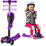 SKIDEE Kick Scooters for Kids 2-12 Years Old - Foldable Scooter with Removable Seat, 3 LED Light Wheels, Back Wheel Brake, Wide Standing Board, and Adjustable Height - 110 Lbs Capacity (w/o Music)