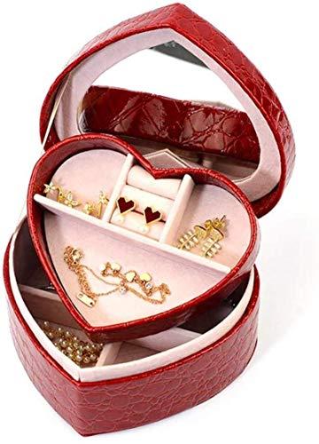 HYLL Jewelry Box for Women, Jewelry Organizer Case, Caja de joyería portátil de Forma de corazón con Espejo para Pendientes Anillos Collares Tachuelas Organizador Treasure Treasure Tinket