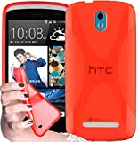 Cadorabo Hülle für HTC Desire 500 in Inferno ROT – Handyhülle aus flexiblem TPU Silikon – Silikonhülle Schutzhülle Ultra Slim Soft Back Cover Hülle Bumper