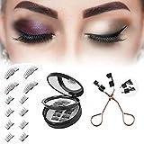 Magnetic Eyelashes 3D False Eyelashes Full Eye Magnetic Fake Lashes Reusable Eyelashes for Natural Look+Professional Eyelash Wear Clip