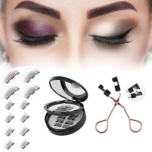 Faux cils magnétiques 3D Faux cils magnétiques Full Eye Faux cils réutilisables pour un look naturel + Pince à cils professionnelle…