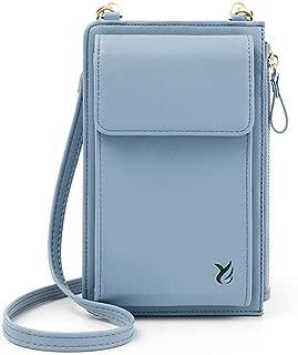 Wukong Womens PU Shoulder Bag Lightweight Small Crossbody Bag Cell Phone Purses Wallet(Blue)
