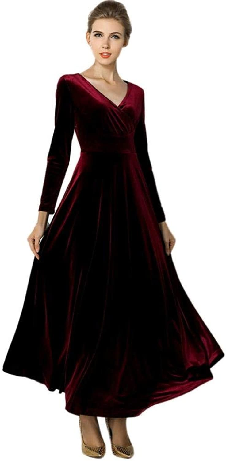 2017 Fashion Autumn Winter Dress Women Hot Velvet Dress Plus Size Ankle Maxi Tunics Casual Robes Made by (color   Wine, Size   3XL)