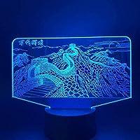giyiohok 3Dナイトライトストレンジフィッシュ3Dイリュージョンランプと7色変更装飾ランプリモコン付きリビングベッドルームバークリスマスギフトデコレーション子供の誕生日プレゼント-B20-B27