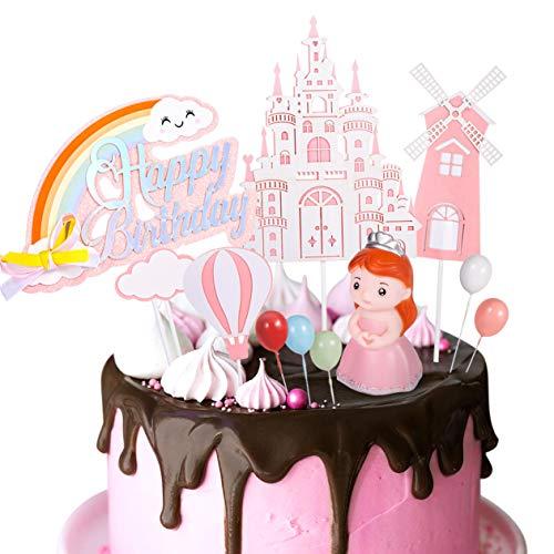 Haosell Rosa Geburtstag Kuchen Topper für Kinder Mädchen Tortendeko Geburtstagskuchen Happy Birthday Topper Tortendekoration Prinzessin Castle Windmühle Heißluftballon Regenbogen Wolke
