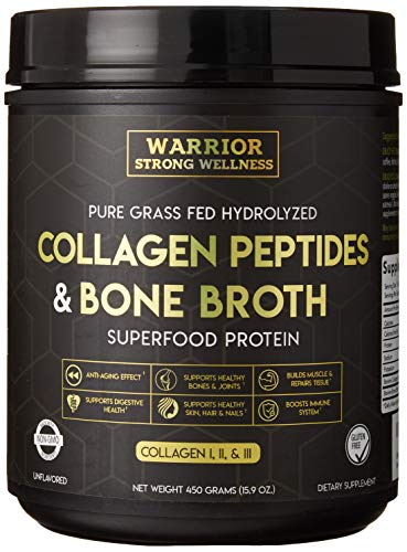 Premium Collagen Peptides Bone Broth by Warrior Strong Wellness: Grass Fed Hydrolyzed Collagen Protein Powder Boost for Healthy Skin, Nails, Hair, Joints, Muscles,Digestion, Keto Friendly, Unflavored