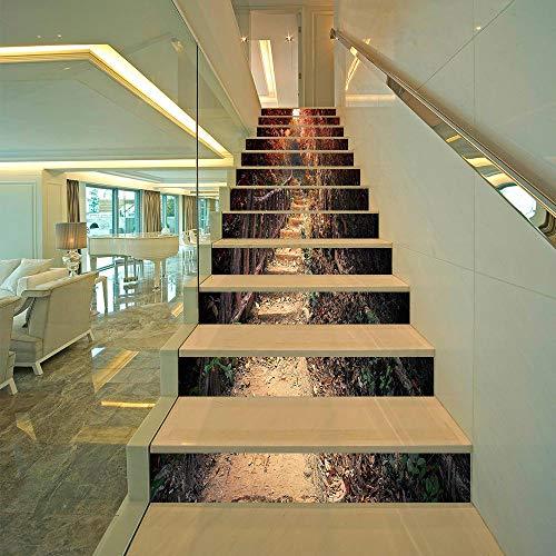 ZKMRW Kreative Einfache Dreizehn Rote Blatt-Promenaden-Treppen-Treppen-Stufen-Wand-Aufkleber