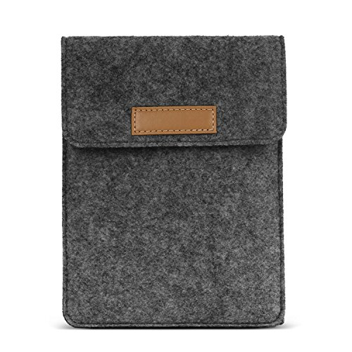 MoKo Sleeve Fits Kindle E-Reader, Protective Felt Cover Case Pouch Bag Fit with All-New Kindle 10th Gen 2019 / Kindle Paperwhite 10th Gen 2018 / Kindle(8th Gen, 2016) / Kindle Oasis 6 Inch, Dark Gray