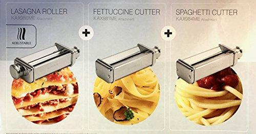 CAREservice Kit 3 Accessori Pasta (Lasagna, Fettuccine, Spaghetti + Adattatore Omaggio) Originale Kenwood per IMPASTATRICE PLANETARIA Kitchen Machine Cooking Chef
