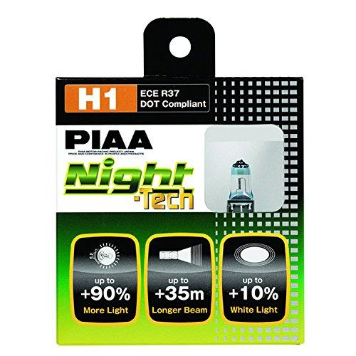 PIAA 10701 H1 Night Tech High Performance Halogen Bulb, (Pack of 2)