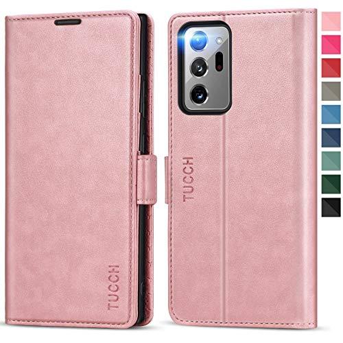 TUCCH Galaxy Note 20 Ultra 5G Hülle, Note 20 Ultra Lederhülle TPU [RFID Blocker] [Aufstellfunktion] [Kartenfach] [Magnetverschluss], Stoßfeste Walletcase für Galaxy Note 20 Ultra (6,9 Zoll) Rosagold