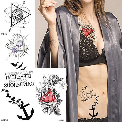 Temporäre Tattoos Gold Blume Temporäre Tätowierung Aufkleber Dreieck Universum Planeten Sanduhr Wassertransfer Gefälschte Tatoos Frauen Arm Tattoo Kunst 10,5X6 Cm