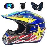 Casco Motocross Niño, Cascos Integrales set Azul/Rockstar con Guantes+Gafas+Máscara, DTC & ECE Certificación, Cascos Cross Moto para BMX Bicicleta Dirt Bike MTB ATV Offroad DH