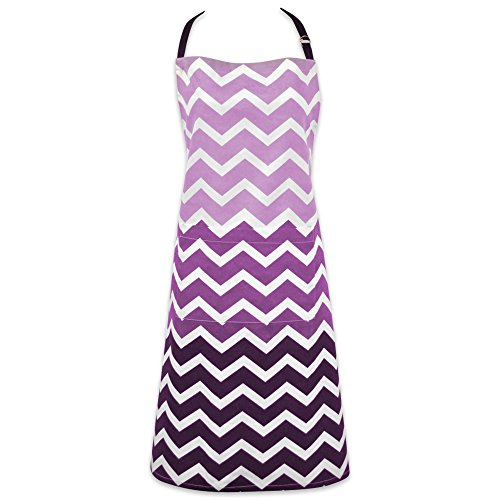 DII Cotton Ombre Chevron Women Kitchen Apron with Pocket and Extra Long Ties, 33 x 28', Cute Fashion Apron for Cooking, Baking, Gardening, Crafting, BBQ-Eggplant