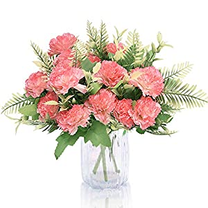 Udefineit 3 Pack Artificial Carnations, Faux Silk Carnation Flowers, Fake Carnation Bouquet Arrangement Table Centerpiece for Wedding Party Banquet Dining Room Home Decorations – Blush Pink