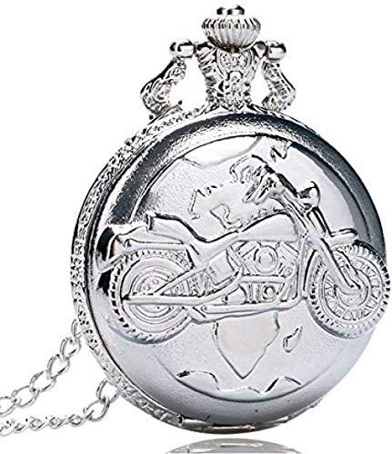YOUZYHG co.,ltd Reloj de Bolsillo de Plata de Cuarzo Reloj de Bolsillo de Cadena Colgante Antiguo Motor ciclomotor Bicicleta para Hombres y Mujeres