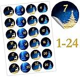 endlosschenken Adventskalender Aufkleber Zahlen 1-24 selbstklebend Nummern zum Basteln Weihnachten (blau Gold)