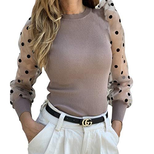 Camiseta Manga Larga para Mujer Blusa Crop Tops con Manga Transparente de Lunares y Cuello Alto Mujer Bodysuit Clubwear Ropa Invierno Primavera (Caqui, S)