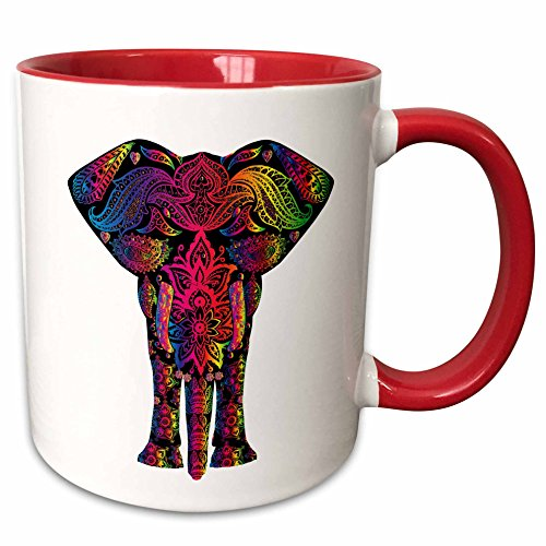 3dRose Colorful Abstract Art Of Asia Elephant Mug, 11 oz, Red