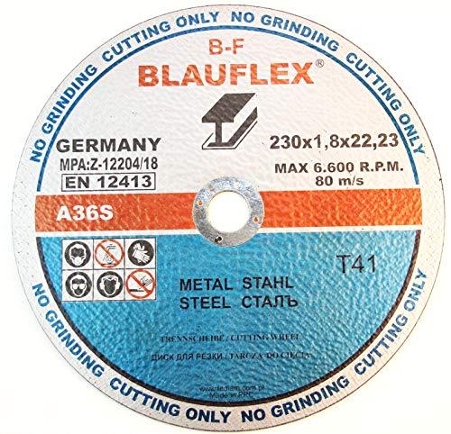 5 Stück Trennscheibe für Stahl 230 x 1,8 mm A30TBF INOX EN12413 Blauflex