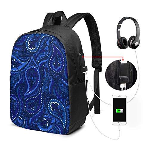 RROOT Root Unisex Rucksack mit USB-Ladeanschluss, Paisleymuster, Blau