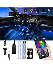 Auto-interieur LED-verlichting, TASMOR RGB LED Auto Bluetooth met APP, 48 LED's Meerkleurig waterdicht ontwerp voor auto, Auto Muziek LED-strip met afstandsbediening 12V