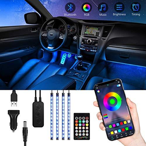 TASMOR Luces Led Coche, Tiras Led Coche con 16 Millones de Colores, 4 * 22CM Luz Interior Coche USB Funciona con APP y Mando Remoto, Iluminacion para Coche Impermeable Modo de Escena DIY y Música