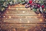 Navidad Nieve decoración de Fiesta de Madera Fondo fotográfico bebé recién Nacido Navidad Navidad Estudio Familiar Accesorios fotográficos A17 10x7ft / 3x2.2m