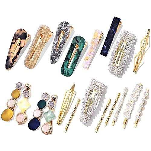 Macaron Pearl Hair Clips Set,Korean Fashion Acrylic Resin Handmade Cute Hair Barrettes,Metal Bobby Pins Hair Accessories for Women Girls Party Wedding (20 Pcs)