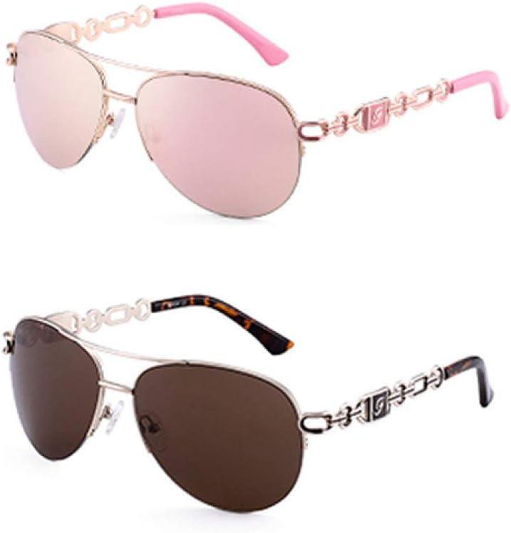 XWJRPA des Lunettes de Soleil,Lunettes de Soleil Femmes UV 400 oculos Femme Lunettes Lunettes de Soleil Miroir C1C2 rose et marron