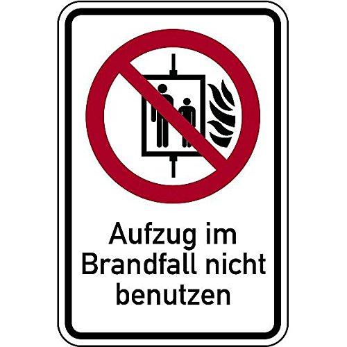LEMAX® Aufkleber Kombischild Aufzug im Brandfall nicht benutzen Folie 100 x 150 mm (Feuer, Notfall, Fahrstuhl) wetterfest