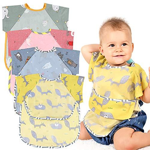 Lictin Bavaglino a Manica Corta - 4 Pezzi Bavaglini Impermeabili Unisex per Bambini Bavaglino Maniche Corte Bavette Neonato Da 0 mesi a 2 anni bambino Piccoli Animali Design Multicolore
