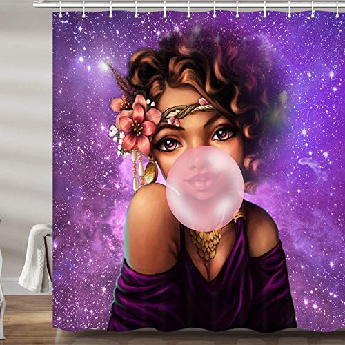 AFDSJJDK Cortina Ducha Cortinas de baño de niña Africana Afro Black Woman Gum in Purple Galaxy