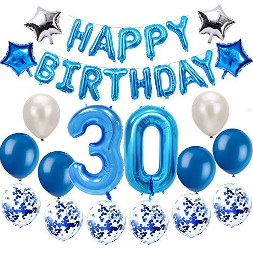 Oumezon 30 Geburtstag Dekoration Blau, 30. Geburtstag deko für Mädchen Jungen Happy Birthday Girlande Banner Folienballon Konfetti Luftballons Deko Geburtstag Party Anzahl Ballons