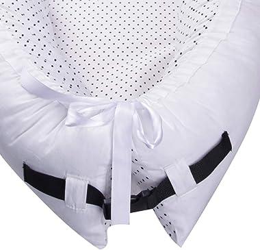 amropi Baby Lounger and Baby Nest Sharing Co Sleeping Baby Bassinet Soft Cotton Cosleeping, White