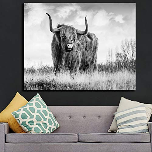 GUDOJK muurschildering zwart-wit-Toro-dieren canvas-druk-schilderij modern muurkunst-affiche en bedrukt foto's voor woonkamer-wooncultuur 60x80cm(24x32inch)