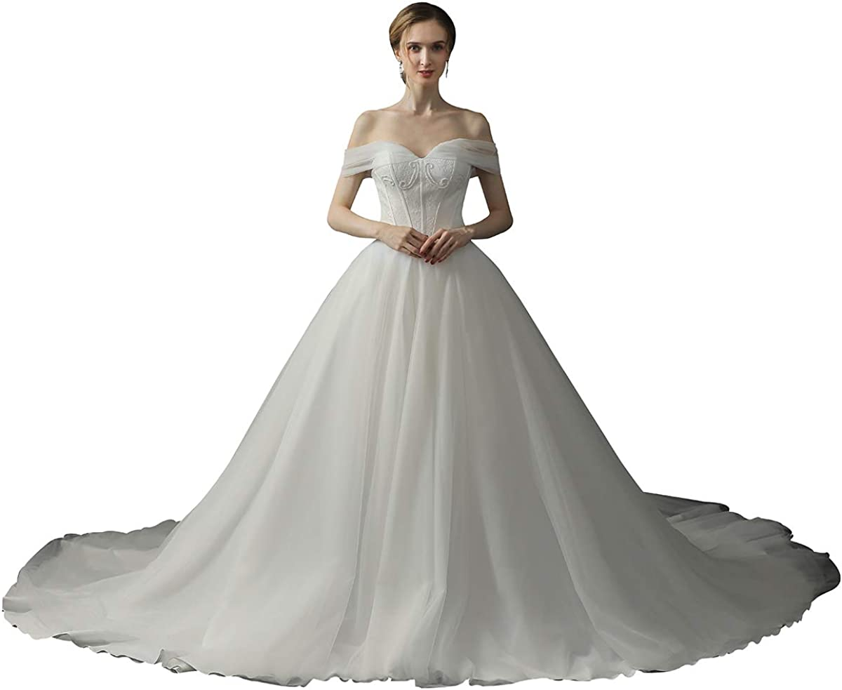 Women Tulle Puffy Wedding Ball Max 40% OFF Gowns LowCu Shoulder Lace Off Challenge the lowest price The