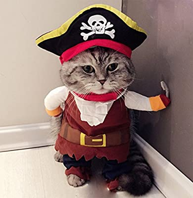 Hillento Pet Costume, Funny Cute Pet Dog Cat Pirate Clothes Suite Outfit for Halloween Christmas Holiday Dress Up Cosplay, Party Apparel Clothing for Cat Dog Plus Hat