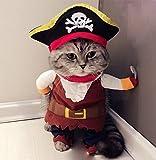 Hillento Traje de Mascota, Divertido Perro Mascota Gato Ropa de Pirata Traje de Suite para Halloween Navidad Vestido de Fiesta Cosplay, Ropa de Fiesta Ropa para Gato Perro